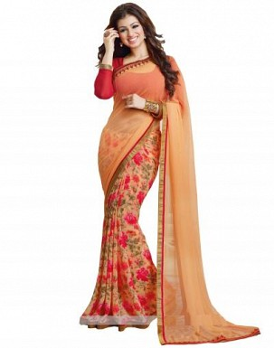 Beautiful Orange Printed,lace Work Georgette Saree @ Rs680.00
