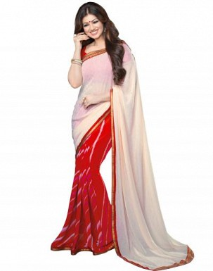 Beautiful White Printed,lace Work Georgette Saree @ Rs680.00