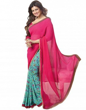 Beautiful Pink Printed,lace Work Georgette Saree @ Rs680.00