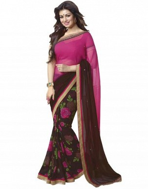 Beautiful Brown and Pink Printed,lace Work Georgette Saree @ Rs680.00