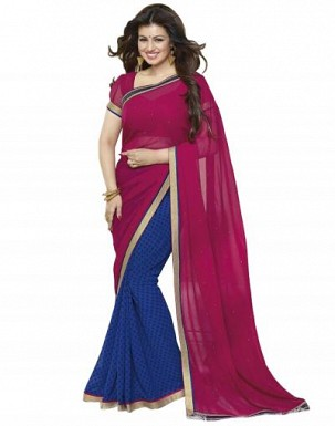 Beautiful Dark Pink Printed,lace Work Georgette Saree @ Rs680.00