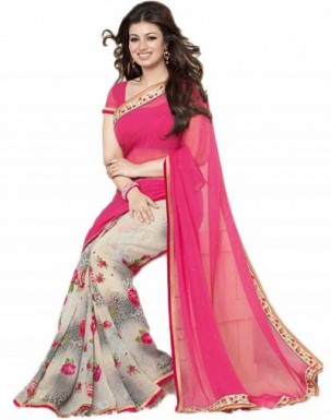 Beautiful Pink Printed,lace Work Georgette Saree @ Rs618.00