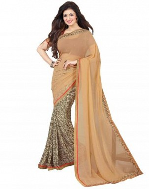 Beautiful Cream Printed,lace Work Georgette Saree @ Rs680.00