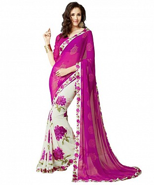 Beautiful Pink Printed,lace Work Georgette Saree @ Rs515.00
