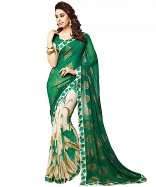 Beautiful Green Printed,lace Work Georgette Saree @ Rs618.00