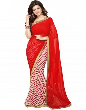 Beautiful Red Printed,lace Work Georgette Saree @ Rs680.00