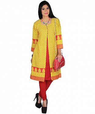 yellow kurtis @ Rs864.00