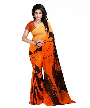 Orange Premium Georgette Printed Saree @ Rs370.00