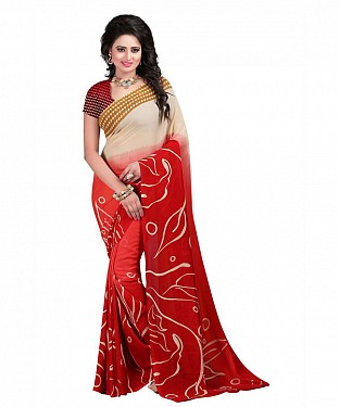Red Premium Georgette Printed Saree @ Rs370.00