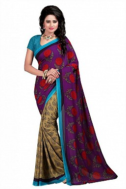 Purple Premium Georgette Printed Saree @ Rs370.00