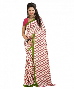 White Premium Georgette Printed Saree @ Rs370.00