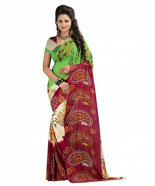 Maroon Premium Georgette Printed Saree @ Rs370.00