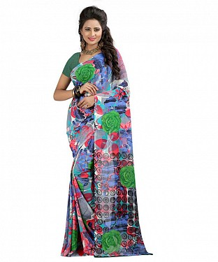 Multicolor Premium Georgette Printed Saree @ Rs370.00