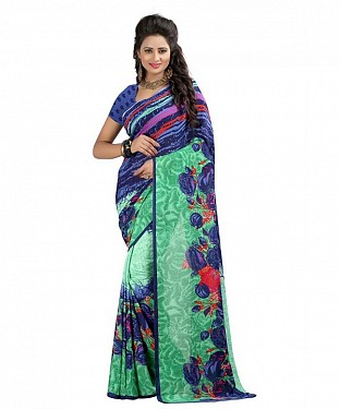 Blue Premium Georgette Printed Saree @ Rs370.00