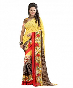 Yellow Premium Georgette Printed Saree @ Rs370.00