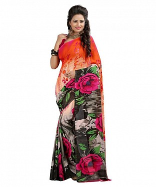 Black Premium Georgette Printed Saree @ Rs308.00