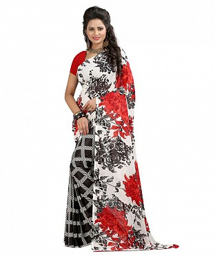White Premium Georgette Printed Saree @ Rs308.00