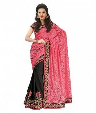 Pink Embroidered Brasso Saree @ Rs742.00