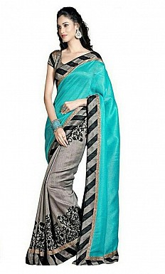 Printed Bhagalpuri Blue saree @ Rs320.00