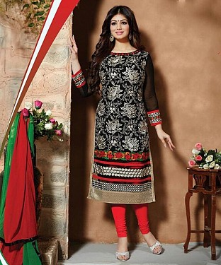 Designer Semistich Georgette long Straight Suit @ Rs1669.00