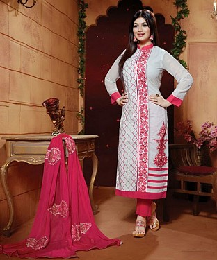 Designer Semi stitched Cotton embroidered long straight suit@ Rs.1422.00