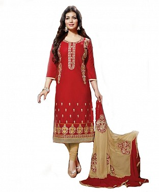 Designer Semi stitched Cotton embroidered long straight suit @ Rs1422.00