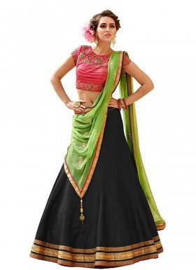 New Latest Black And Pink Banglori Silk Lehegha Choli@ Rs.1235.00