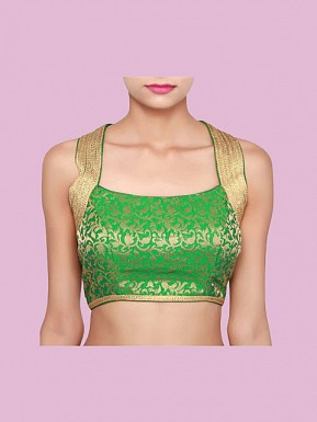 Green Designer Blouse Material @ Rs396.00