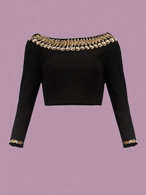 Black Designer Blouse Material @ Rs371.00