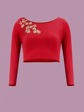 Red Designer Blouse Material @ Rs371.00