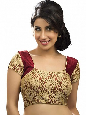 Maroon, Gold Designer Blouse Material @ Rs433.00