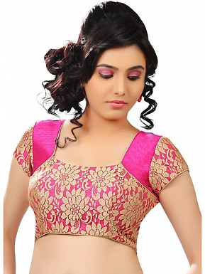 Pink, Gold Designer Blouse Material @ Rs433.00