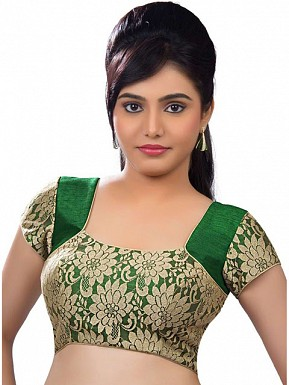Gold, Green Designer Blouse Material @ Rs433.00