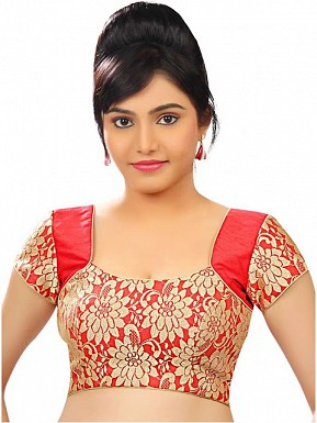 Red, Gold Designer Blouse Material @ Rs309.00