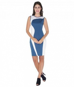 Elliana Blue And White Contrast Side Panel Bodycon @ Rs890.00