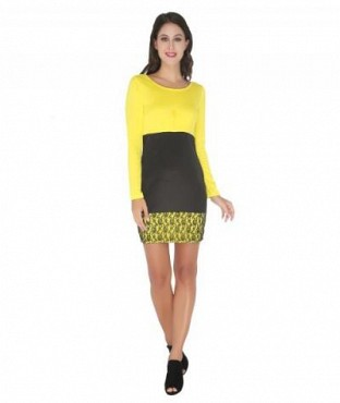 Elliana Yellow And Black Bodycon @ Rs921.00