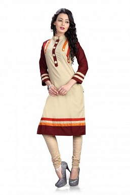 Panchi Beige and Maroon plain cotton kurti @ Rs370.00