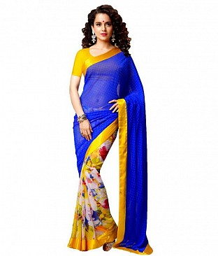 Bollywood Kangana Ranout Multicolor printed saree@ Rs.679.00