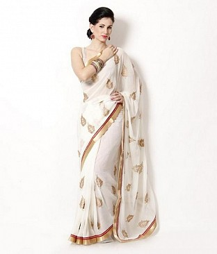 Embroidered Chiffon White Saree@ Rs.679.00