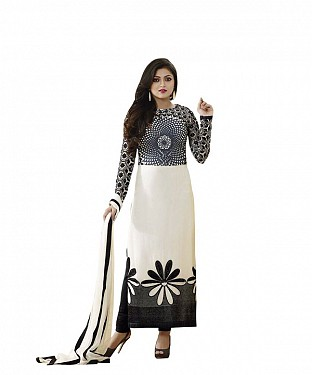 Off White And Black Georgette Heavy Embroidered Party Wear Unstitched Dress @ Rs1112.00
