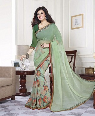 Lady Fashion Villa green designer sarees@ Rs.988.00