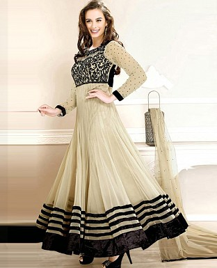 3001_New FancyEvelyn sharma Cream Embroidered anarkali suit @ Rs1020.00