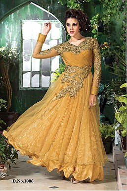 letest golde yellow gown style anarkali suit @ Rs2595.00