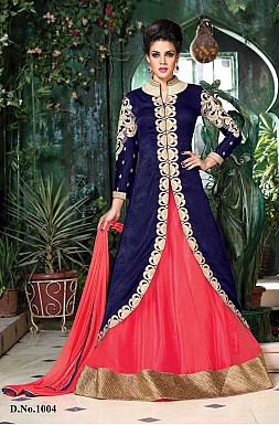 Unique Embroidered Blue & Pink jacket style Indian Anarkali Suit @ Rs2595.00