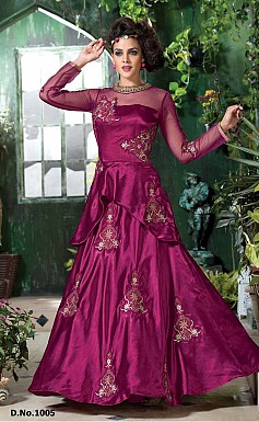 Dazzling Resham Work Magenta Color Japan Silk Gown Style Anarkali @ Rs2595.00