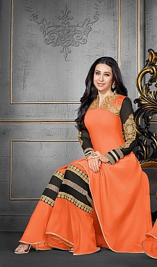 Karishma Orange Plazo Style Anarkali Salwar Kameez @ Rs1724.00