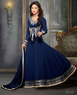 Blue Georgette Anarkali Suit @ Rs1338.00