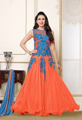 Karishma Orange Blue Anarkali Salwar Suit @ Rs1579.00