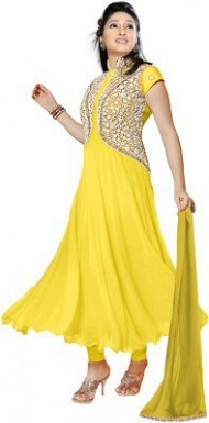 Beautifull Fancy yellow With white Anarkali suit @ Rs576.00