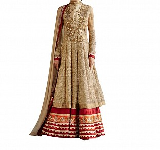 beautiful cream color heavy embroidred anarkali suit @ Rs1586.00